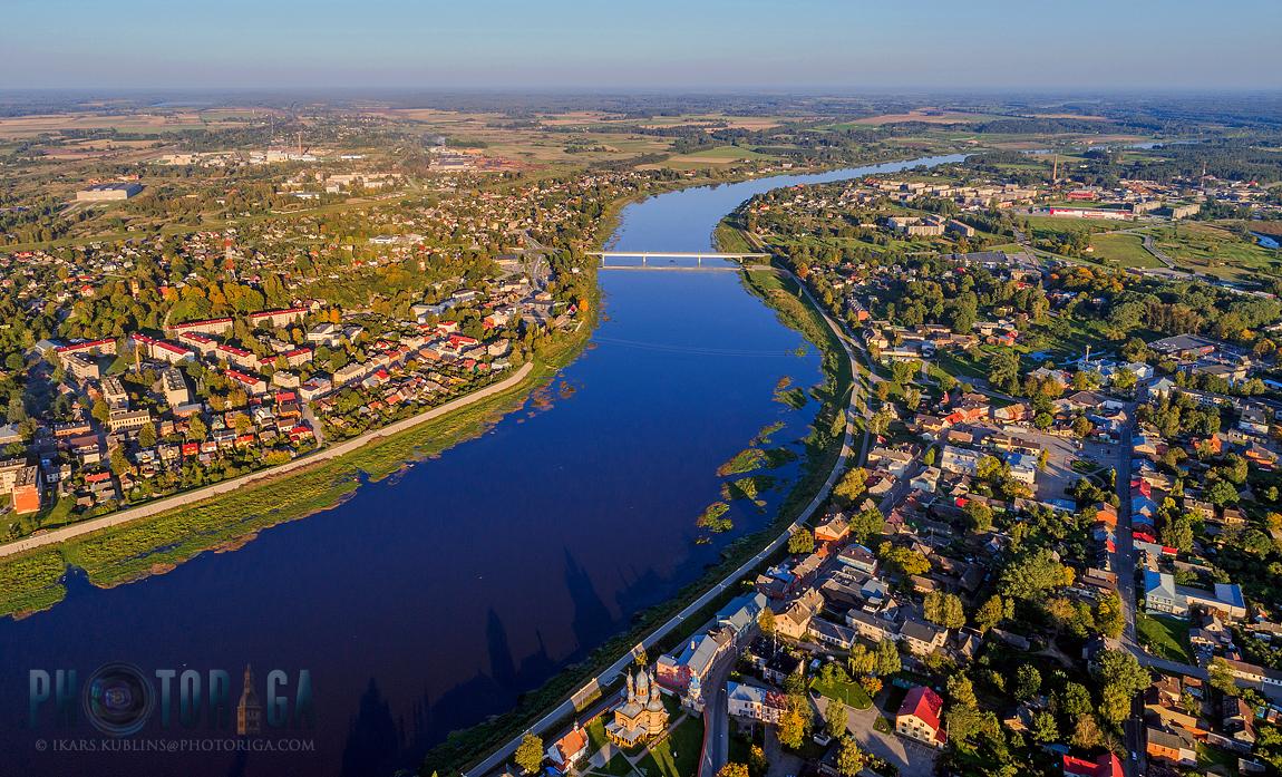 Jekabpils town aerial   Jēkabpils, skats no augšas