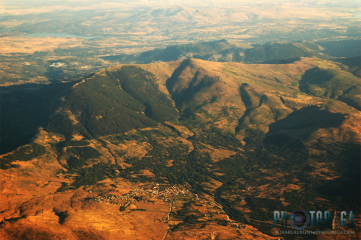 Mountains in Spain from airplane window