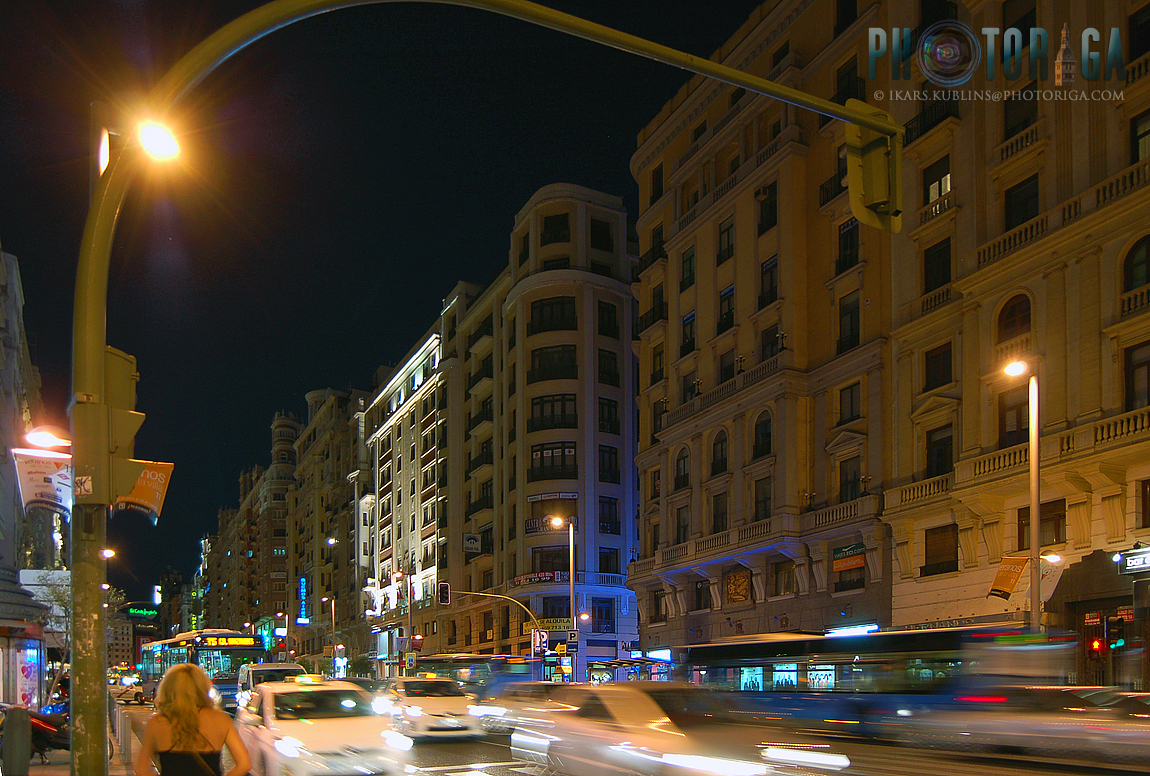 Madrid street at night