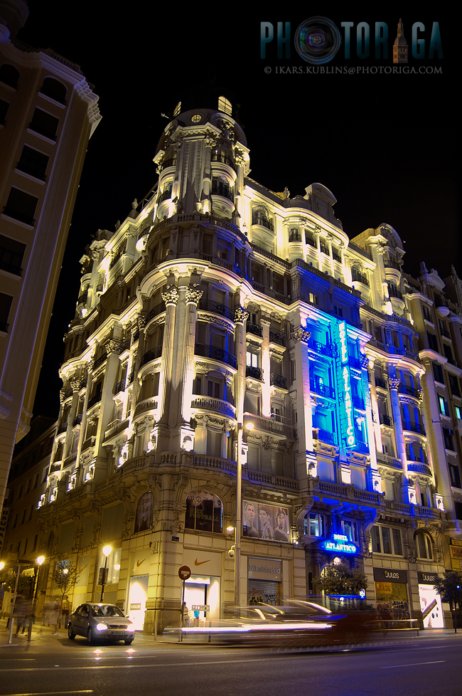 Hotel Atlantico building illuminated at night