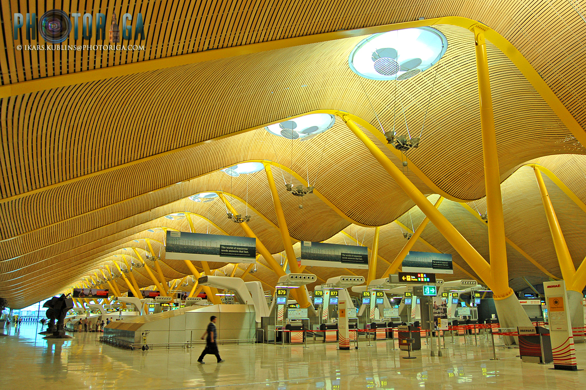 interior of the newest terminal of Madrid Barajas airport